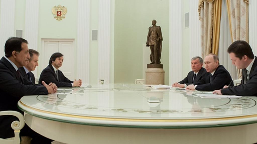 From left to right: CEO of the Qatar Investment Authority (QIA) Sheikh Abdullah bin Mohammed bin Saud Al Thani, CEO of Glencore PLC Ivan Glasenberg, and CEO of Banca Intesa Sanpaolo Carlo Messina meet with Rosneft CEO Igor Sechin, Russian President Vladimir Putin, and an unknown man in the Kremlin on 25 January 2017 following the purchase of 19.5% of Russian state-owned Rosneft.